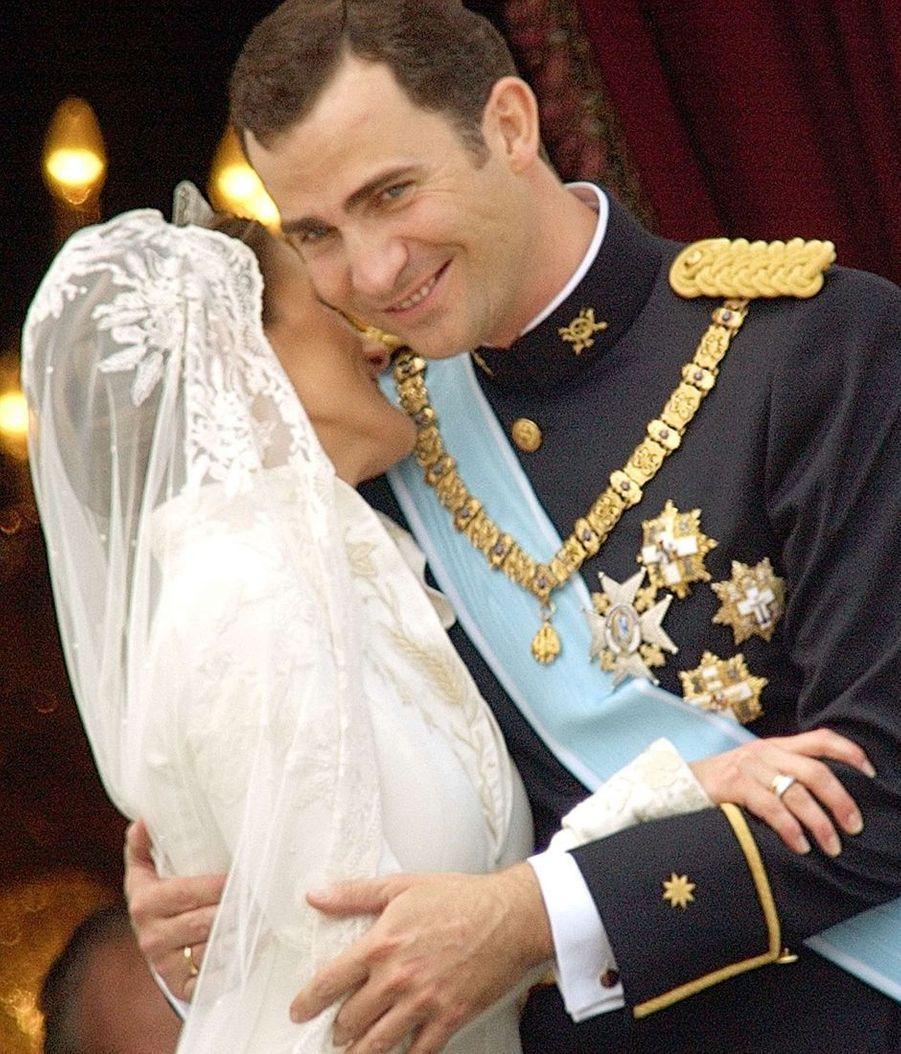 Mariage de Letizia Ortiz et du prince Felipe d'Espagne à Madrid, le 22 mai 2004