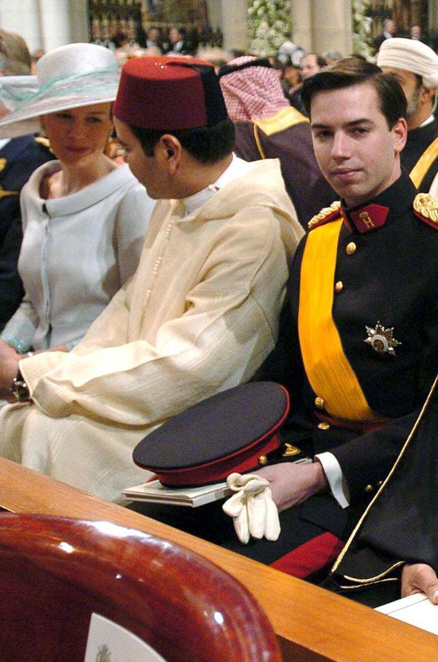 La princesse Mathilde de Belgique, le prince Moulay Rachid du Maroc et le prince Guillaume de Luxembourg à Madrid, le 22 mai 2019