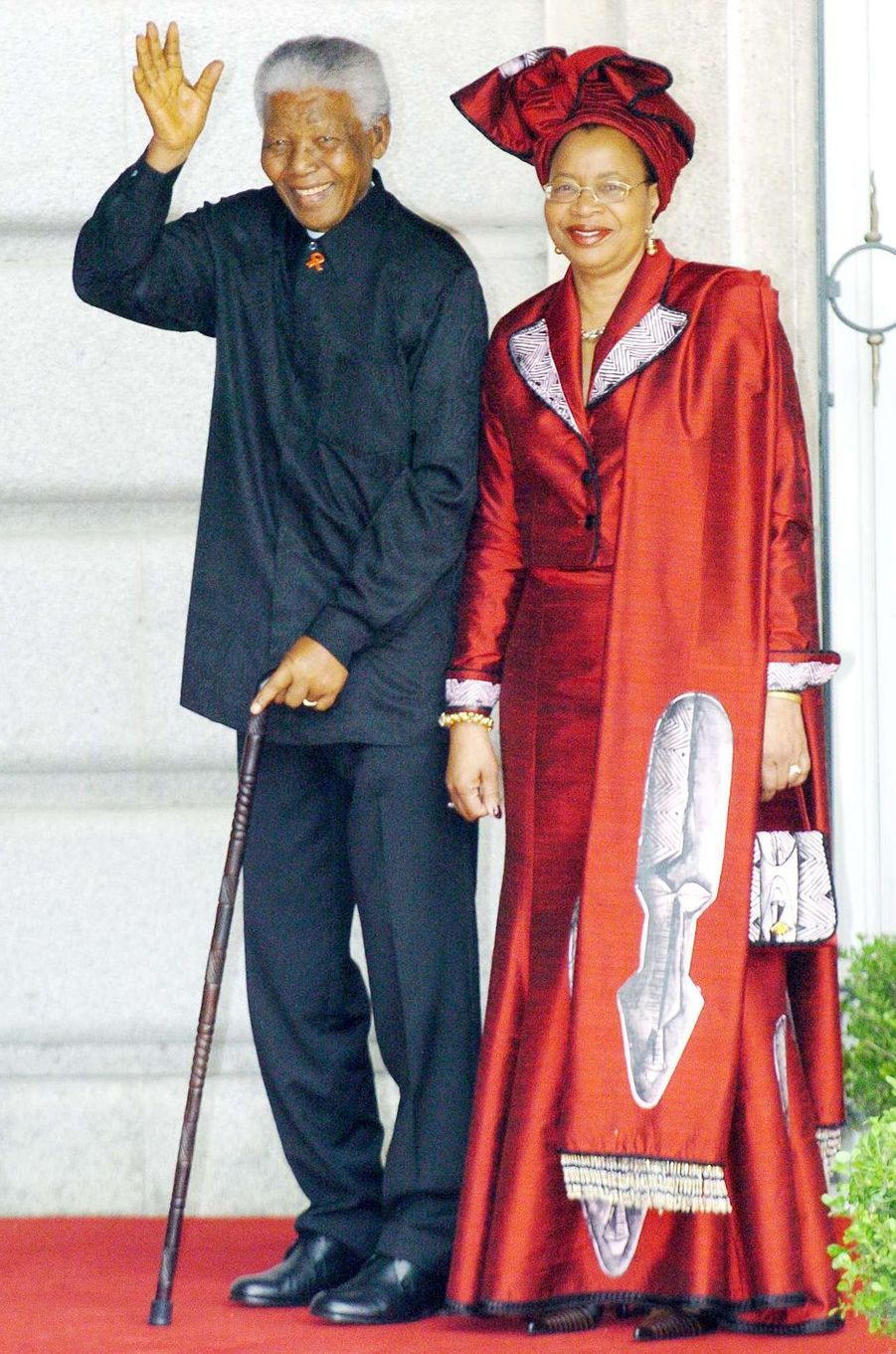 Nelson Mandela et sa femme à Madrid, le 22 mai 2004