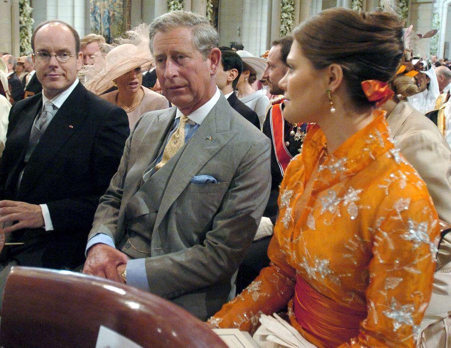 Le prince Albert de Monaco, le prince Charles d'Angleterre et la princesse Victoria de Suède à Madrid, le 22 mai 2019