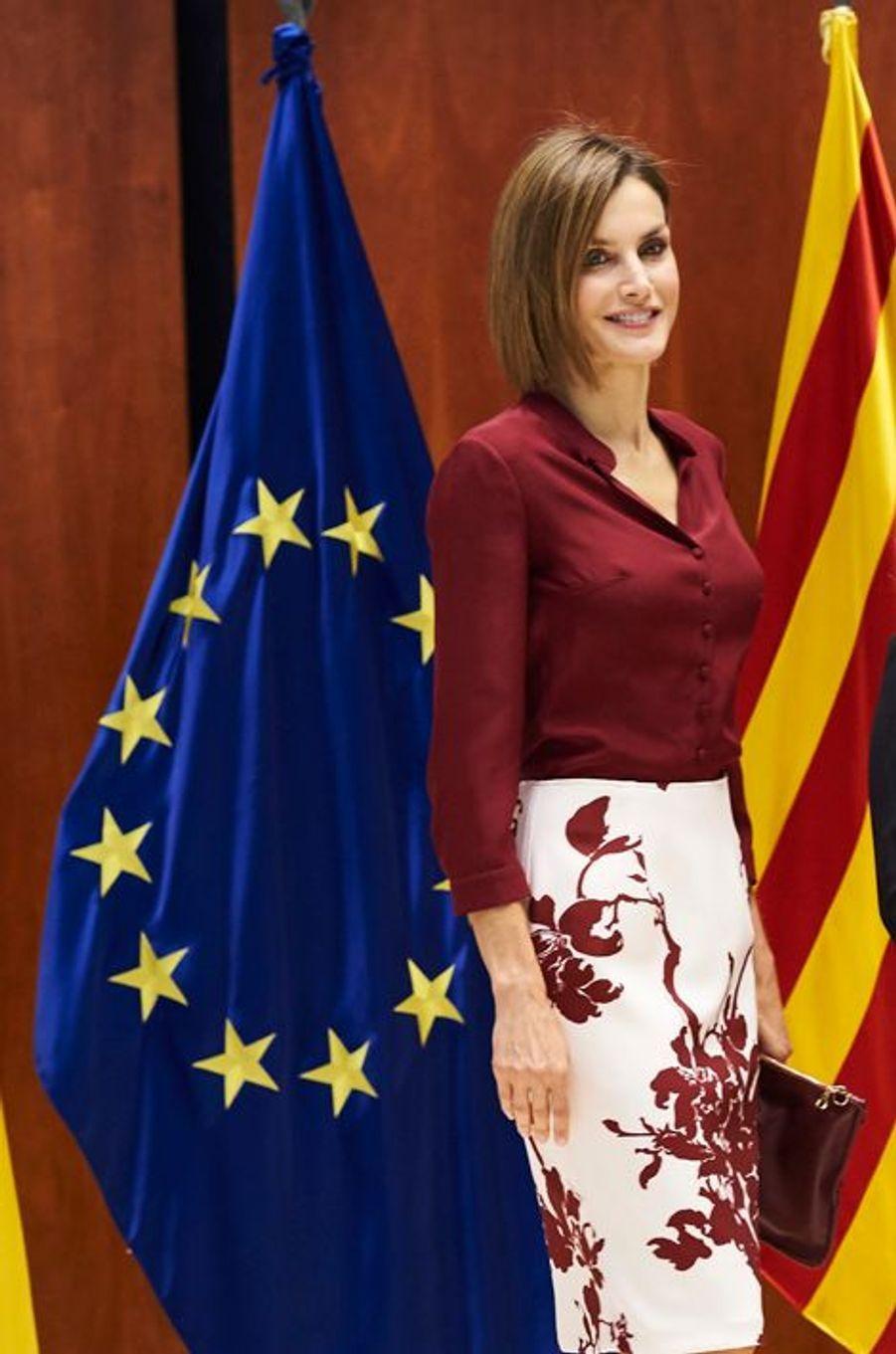 La reine Letizia d'Espagne à Madrid, le 9 septembre 2015