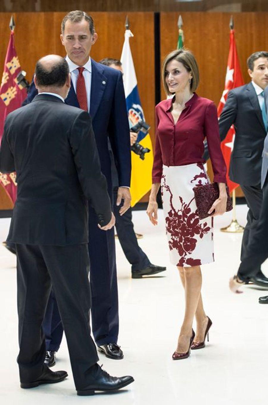 La reine Letizia et le roi Felipe VI d'Espagne à Madrid, le 9 septembre 2015