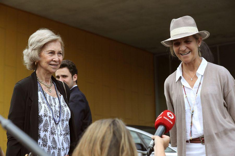 L'ex-reine Sofia d'Espagne et la princesse Elena à Madrid, le 27 août 2019