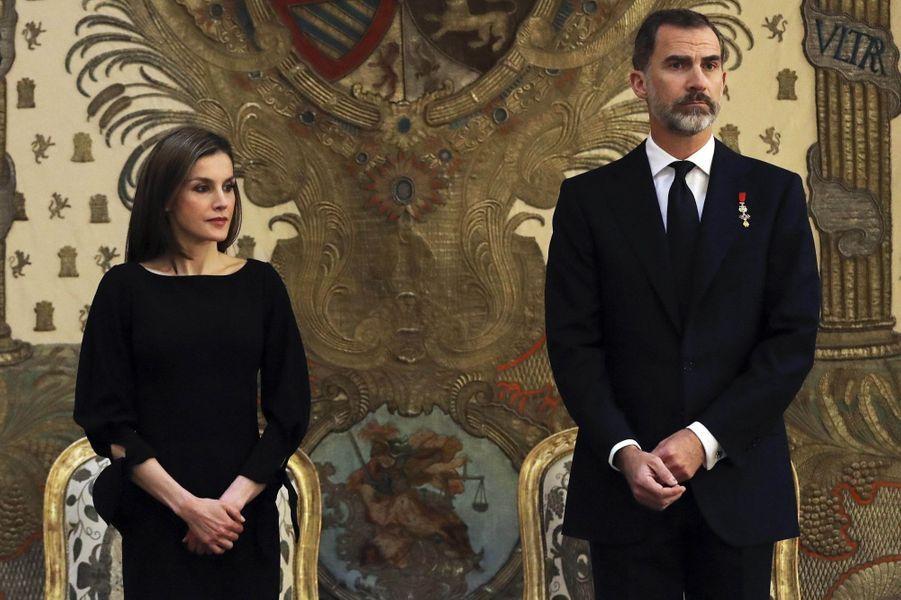 La reine Letizia et le roi Felipe VI d'Espagne à Madrid, le 11 mai 2017