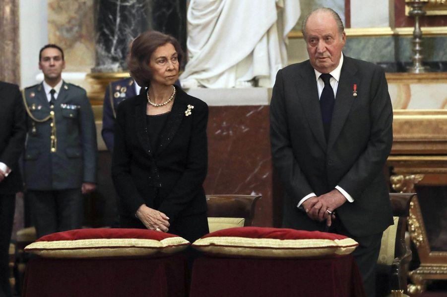 L'ancienne reine Sofia et l'ancien roi Juan Carlos d'Espagne à Madrid, le 11 mai 2017