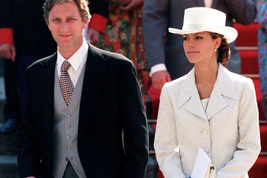 Le prince Philippe de Belgique et la princesse Victoria de Suède au mariage de l'infante Cristina d'Espagne et de Inaki Urdangarin, à Barcelone le 4 octobre 1997