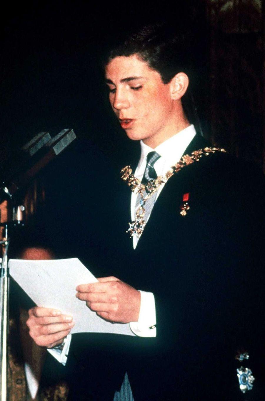 Le prince Felipe d'Espagne, le 30 janvier 1986, jour de ses 18 ans