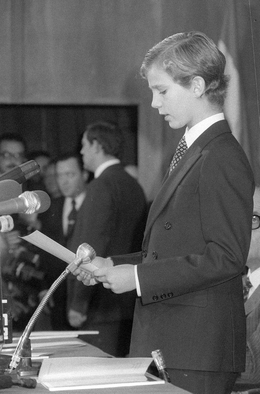 Le prince Felipe d'Espagne, le 3 octobre 1980