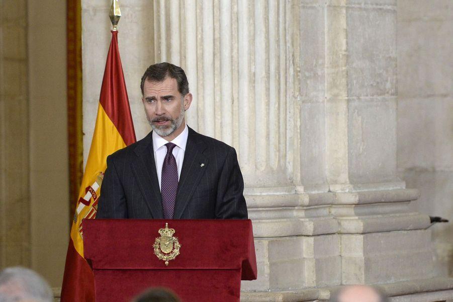 Le roi Felipe VI d'Espagne au Palais royal à Madrid, le 30 janvier 2017