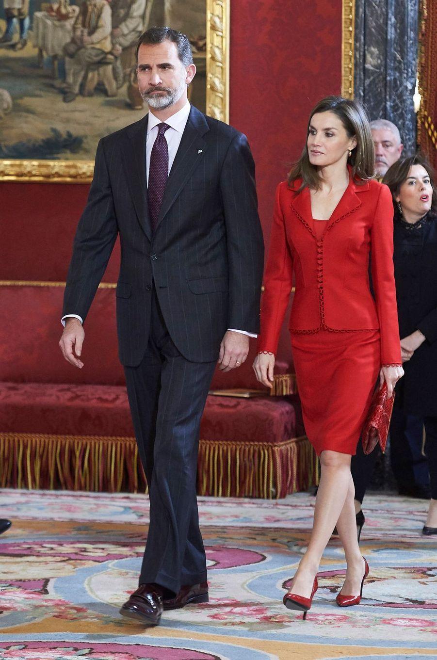 La reine Letizia et le roi Felipe VI d'Espagne à Madrid, le 30 janvier 2017 jour de l'anniversaire du souverain