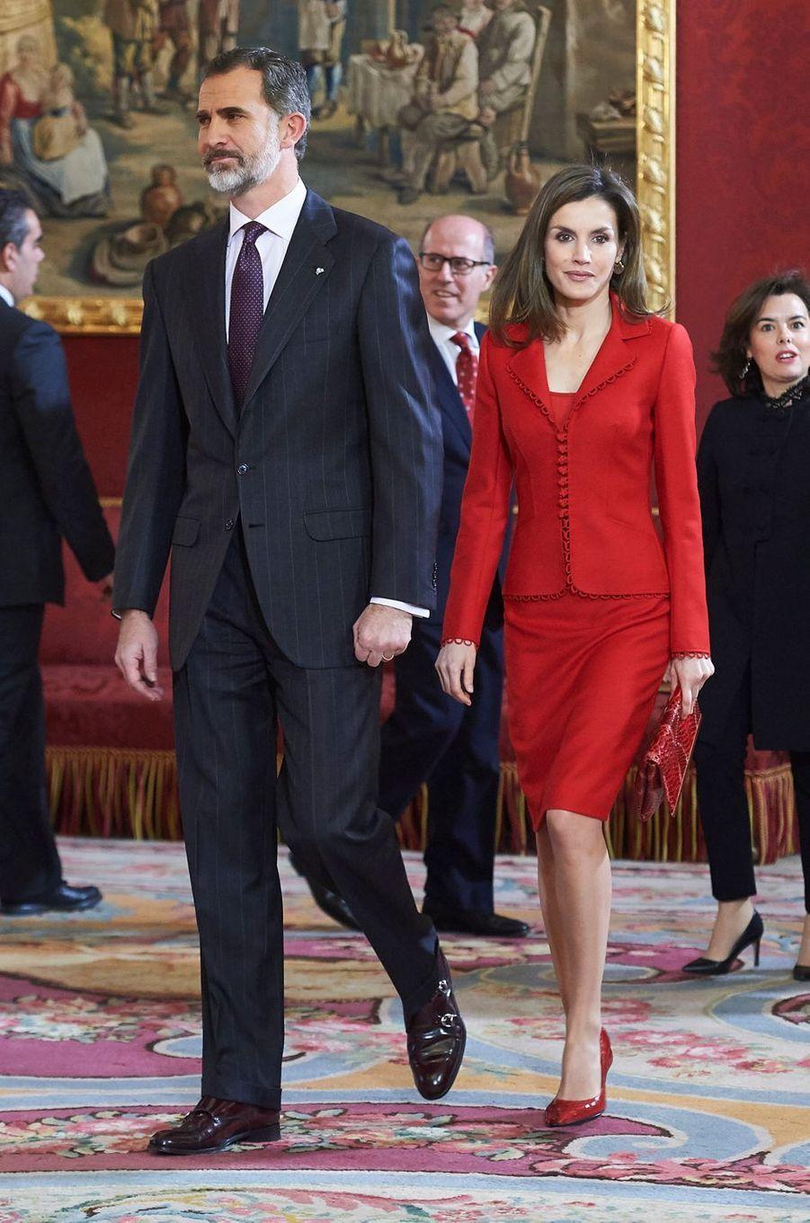 Le roi Felipe VI et la reine Letizia d'Espagne à Madrid, le 30 janvier 2017