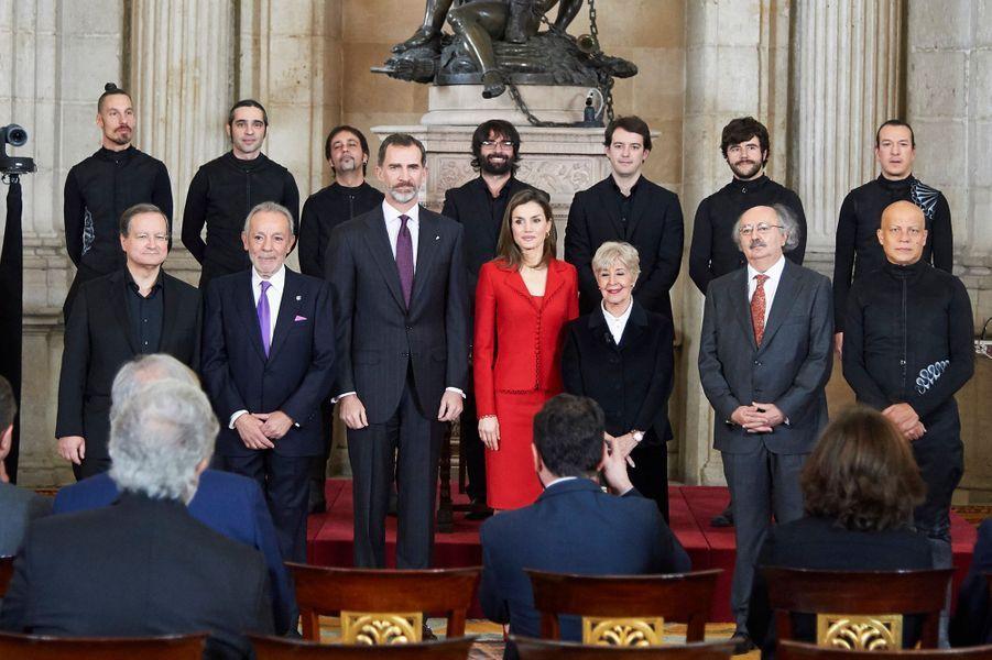 La reine Letizia et le roi Felipe VI d'Espagne au Palais royal à Madrid, le 30 janvier 2017