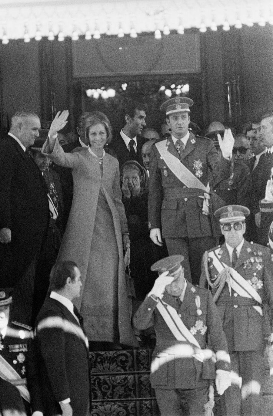 La reine Sofia et le roi Juan Carlos d'Espagne, à Madrid le 22 novembre 1975