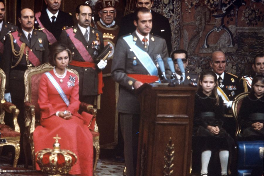 La reine Sofia, le roi Juan Carlos d'Espagne et les princesses Elena et Cristina, à Madrid le 22 novembre 2020