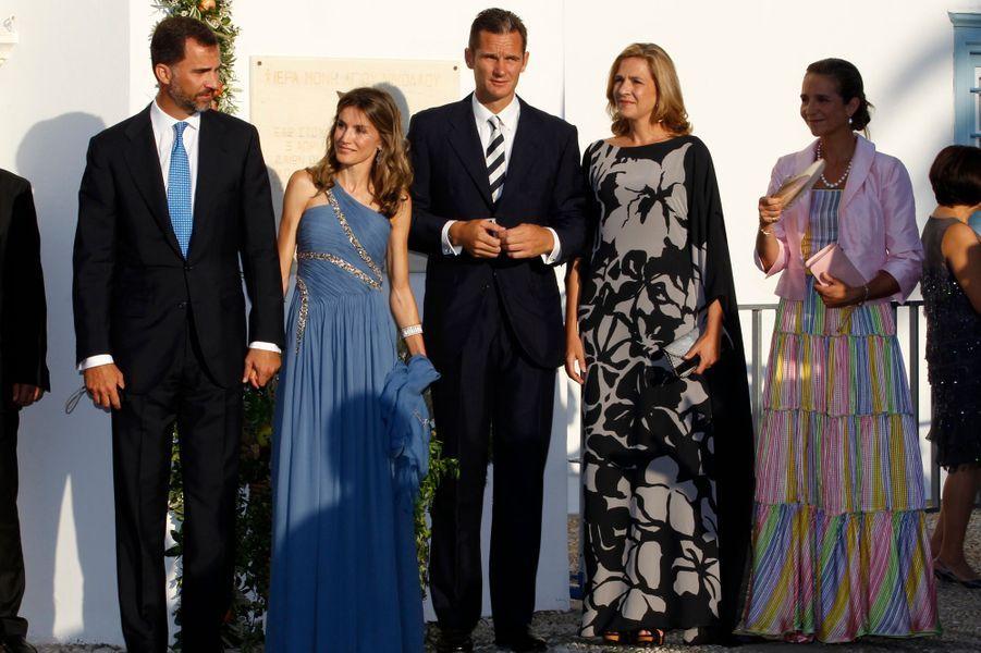 Inaki Urdangarin et la princesse Cristina d'Espagne avec le prince Felipe et les princesses Letizia et Elena, le 25 août 2010