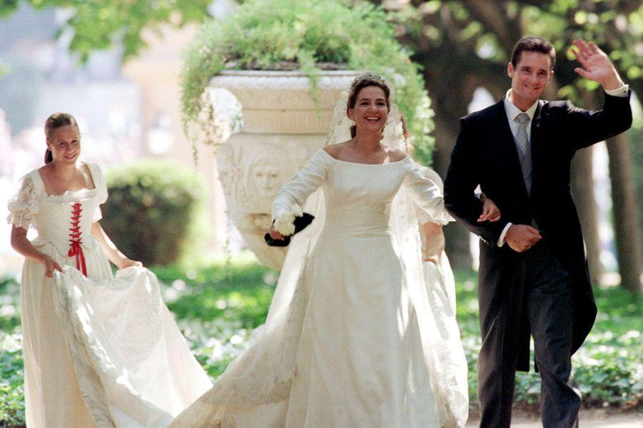Inaki Urdangarin et la princesse Cristina d'Espagne, le jour de leur mariage, le 4 octobre 1997