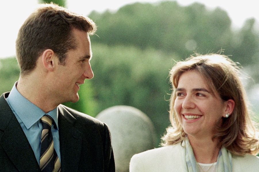 Inaki Urdangarin et la princesse Cristina d'Espagne, le jour de l'annonce de leurs fiançailles, le 3 mai 1997