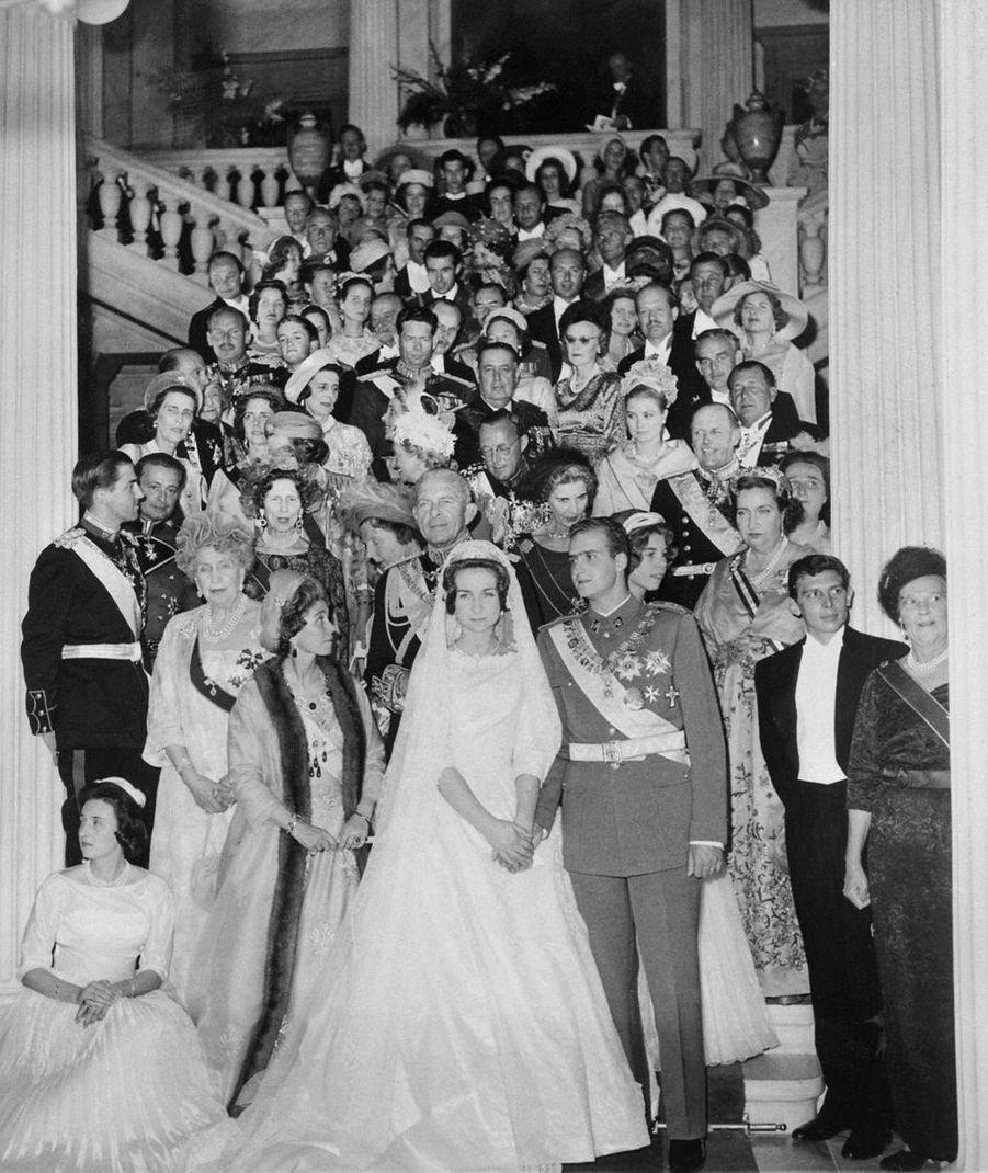 La princesse Sophie de Grèce et le prince Juan Carlos d'Espagne, le jour de leur mariage, 14 mai 1962