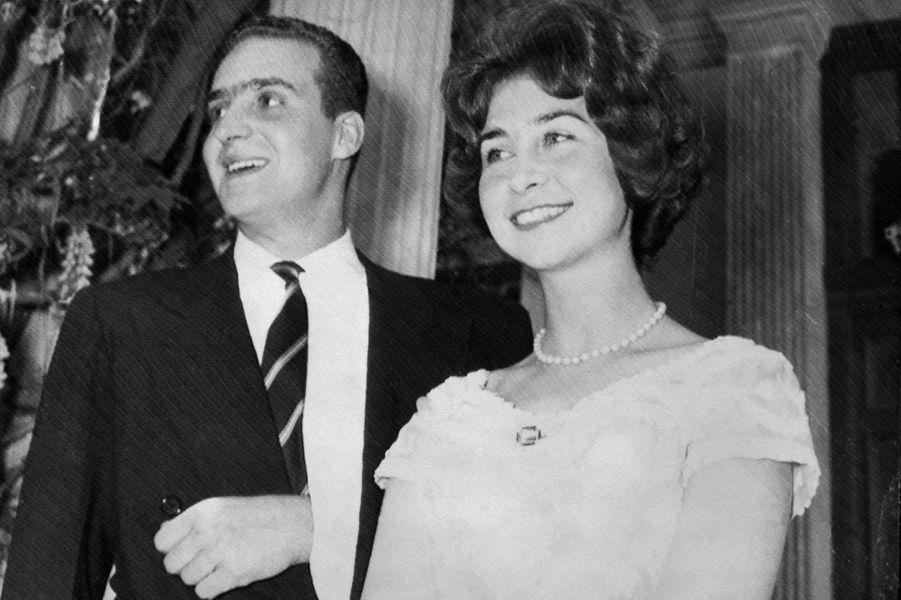 La princesse Sophie de Grèce et son fiancé le prince Juan Carlos d'Espagne, le 25 avril 1962