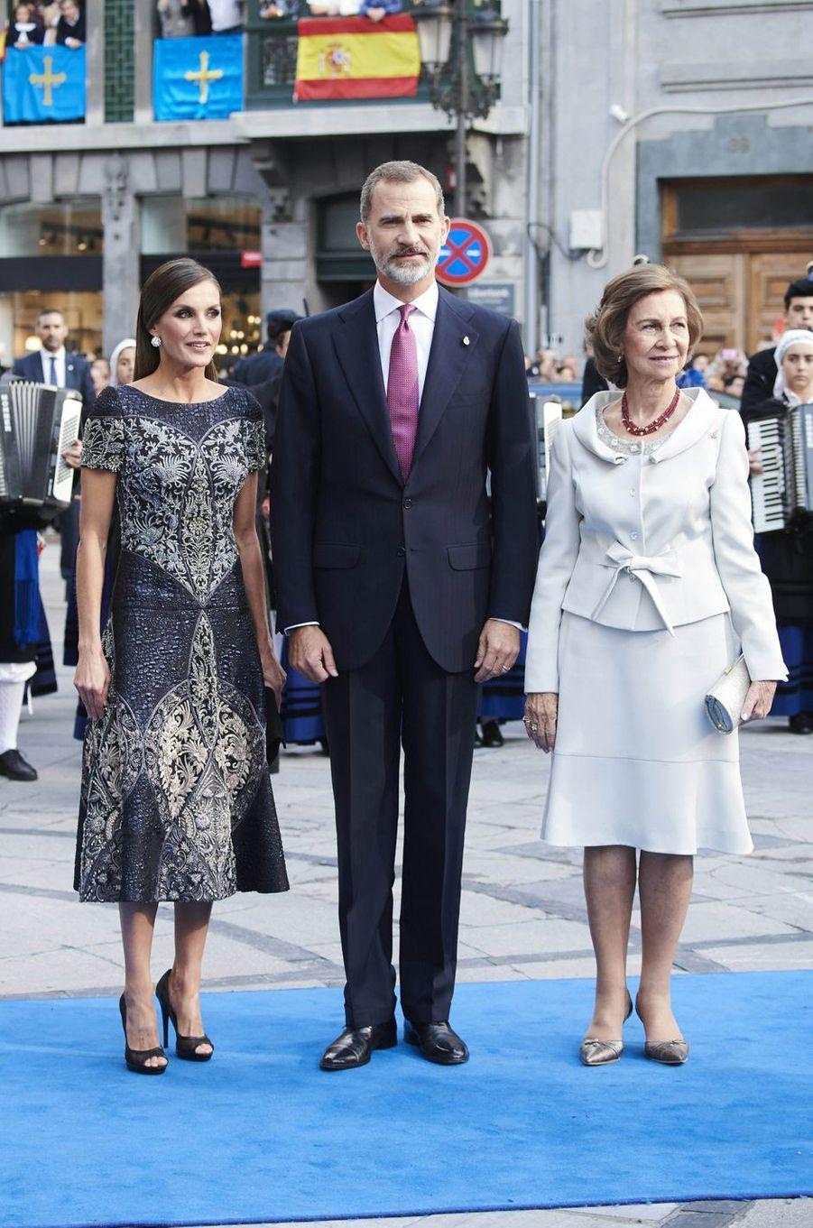 L'ex-reine Sofia avec le roi Felipe VI et la reine Letizia, le 19 octobre 2018