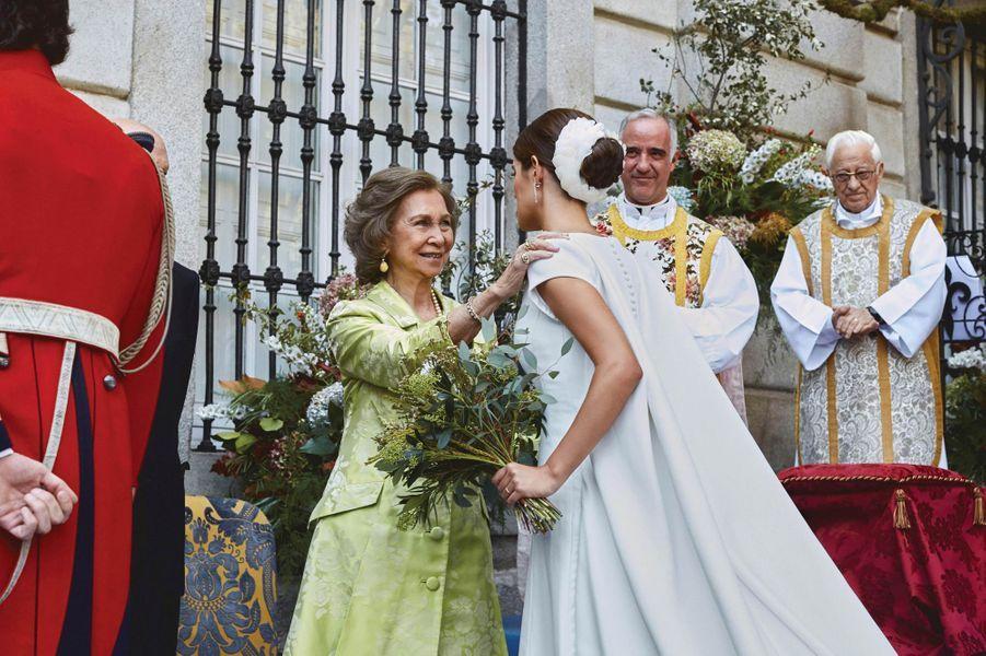 L'ex-reine Sofia d'Espagne au mariage du duc de Huéscar à Madrid, le 6 octobre 2018