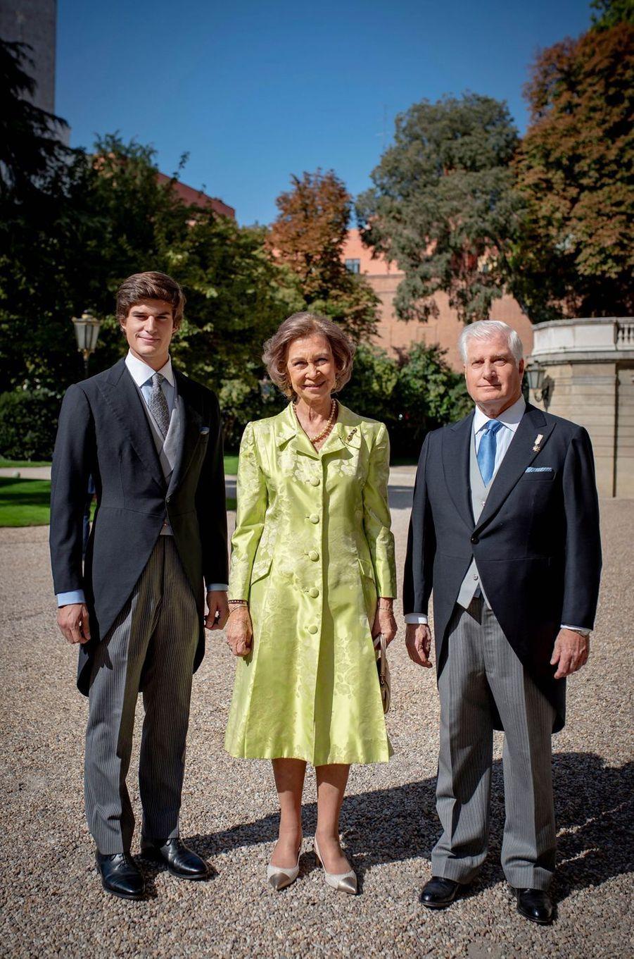 L'ex-reine Sofia d'Espagne au mariage du duc de Huéscar à Madrid, le 6 octobre 2018, avec celui-ci et son père le duc d'Albe