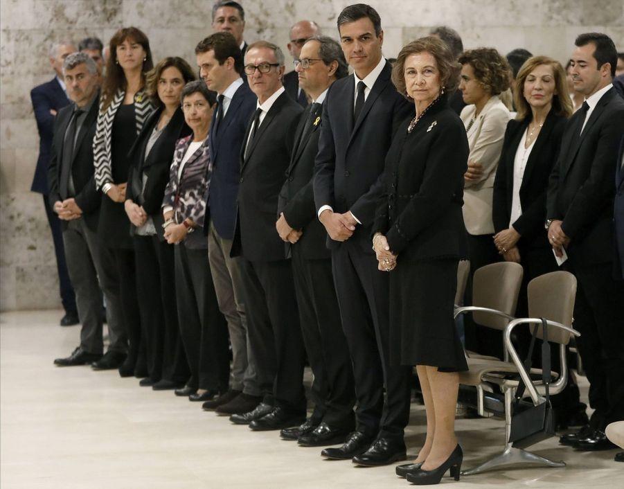 L'ex-reine Sofia d'Espagne aux funérailles de Montserrat Caballé à Barcelone, le 8 octobre 2018