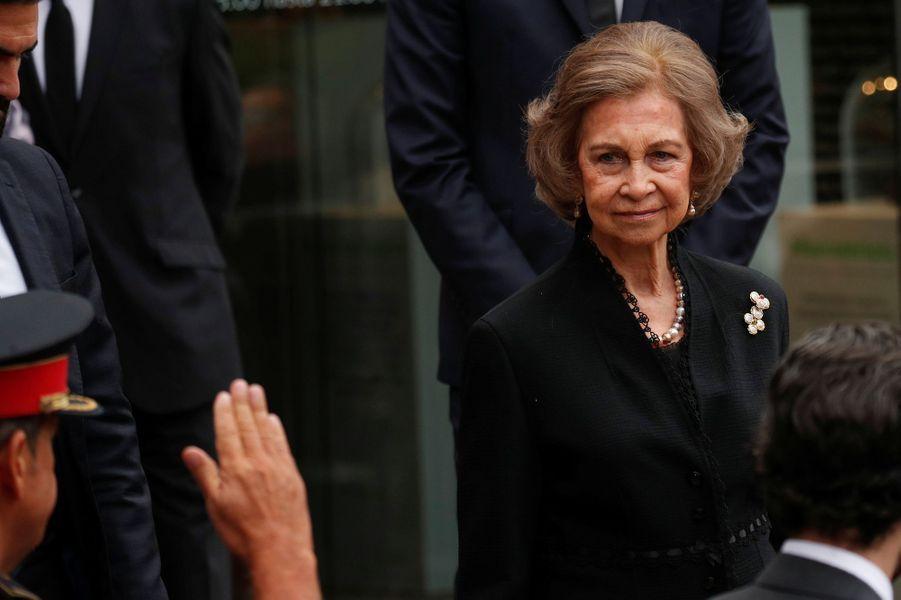L'ex-reine Sofia d'Espagne à Barcelone, le 8 octobre 2018