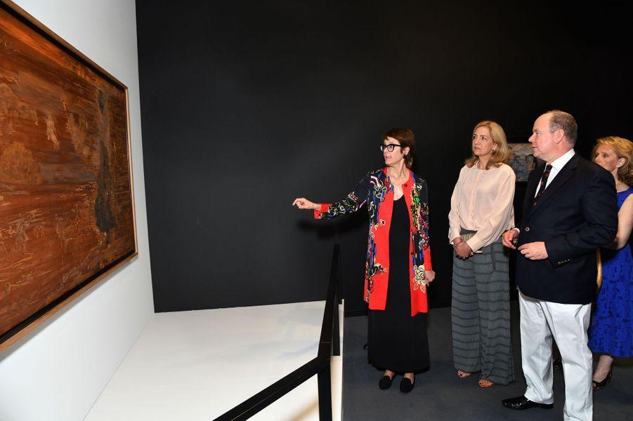 L'infante Cristina d'Espagne et le prince Albert II de Monaco à Monaco, le 5 juillet 2019