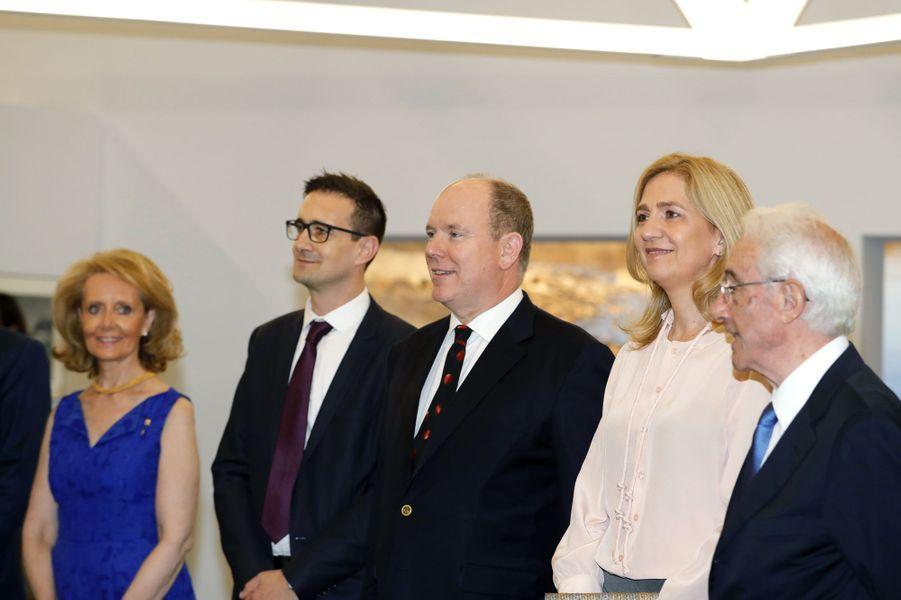 Le prince Albert II de Monaco et l'infante Cristina d'Espagne à Monaco, le 5 juillet 2019