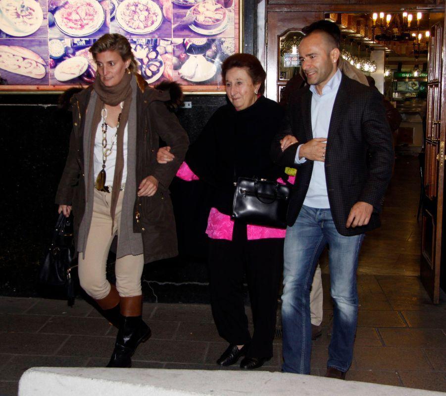 L'infante Margarita d'Espagne, avec sa fille Maria et son gendre, le 6 mars 2012
