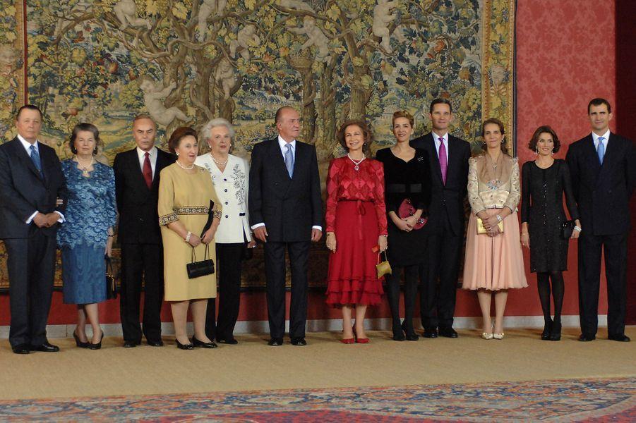 L'infante Margarita d'Espagne avec la famille royale pour les 70 ans du roi Juan Carlos, le 9 janvier 2007