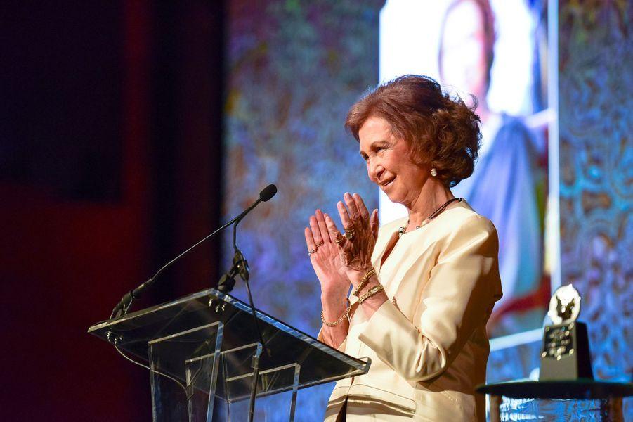 L'ancienne reine Sofia d'Espagne à New York, le 21 octobre 2015