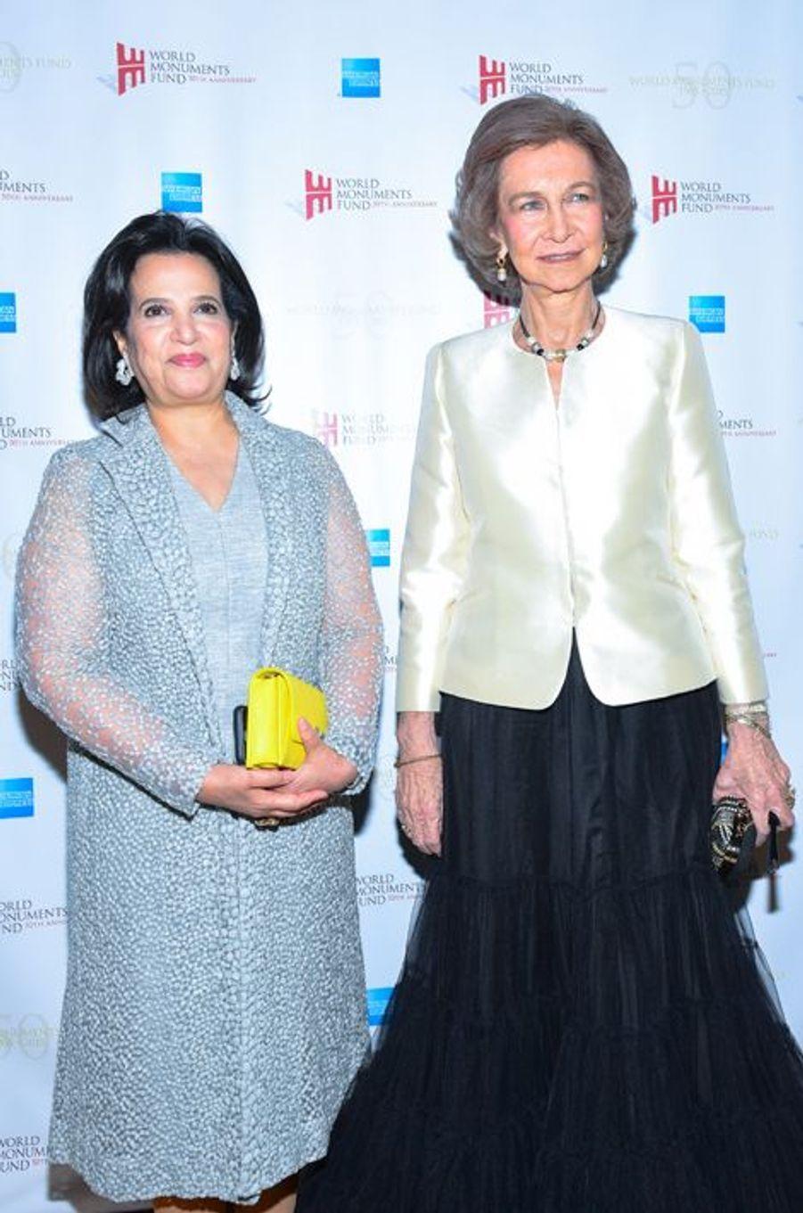 L'ancienne reine Sofia d'Espagne avec la Sheikha Mai bint Mohammed Al Khalifa à New York, le 21 octobre 2015