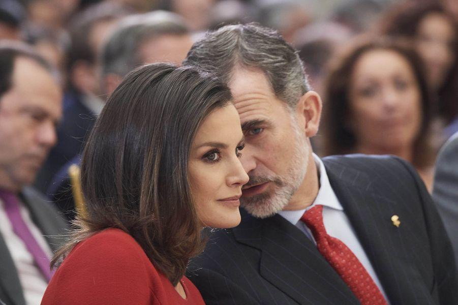 La reine Letizia et le roi Felipe VI d'Espagne à Madrid, le 10 janvier 2018