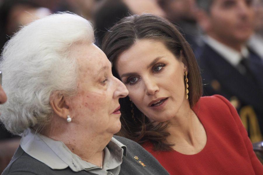 La princesse Pilar et la reine Letizia d'Espagne à Madrid, le 10 janvier 2018