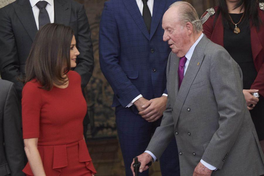 L'ancien roi Juan Carlos et la reine Letizia d'Espagne à Madrid, le 10 janvier 2018