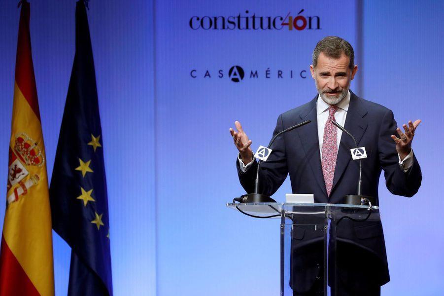 Le roi Felipe VI d'Espagne à la Casa de América à Madrid, le 29 novembre 2018