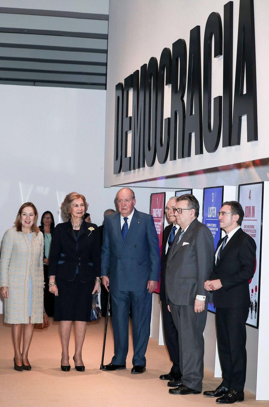 L'ancienne reine Sofia et l'ancien roi Juan Carlos d'Espagne à Madrid, le 4 décembre 2018