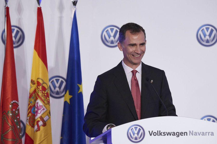 Le roi Felipe VI d'Espagne dans l'usine Volkswagen de Pampelune, le 29 juin 2016