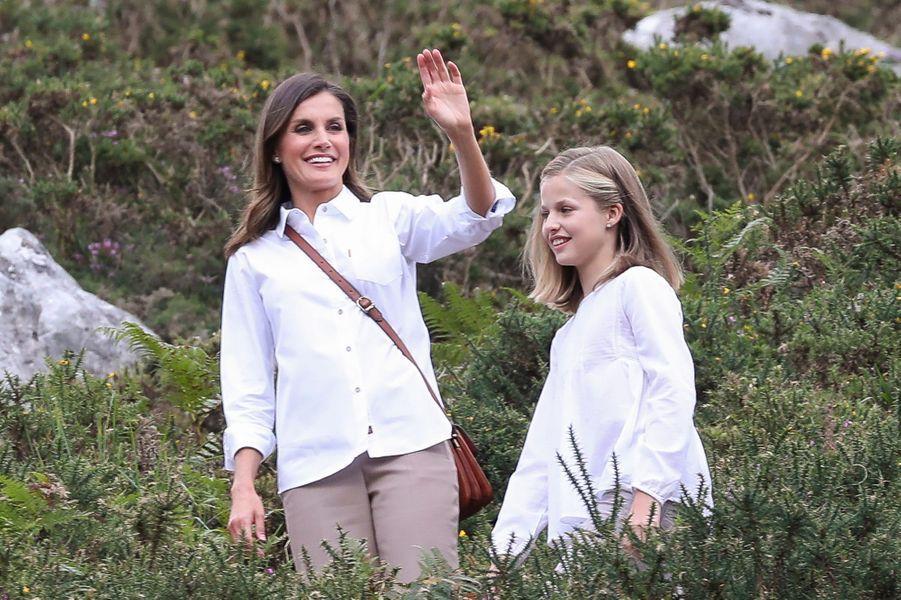 La reine Letizia et la princesse Leonor d'Espagne dans les Asturies, le 8 septembre 2018