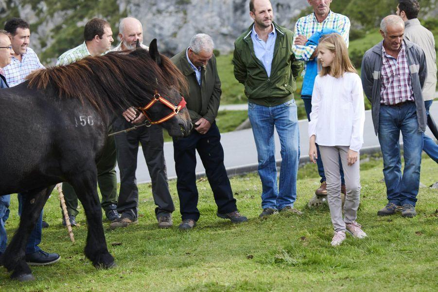 La princesse Leonor d'Espagne et la jument Xana dans les Asturies, le 8 septembre 2018