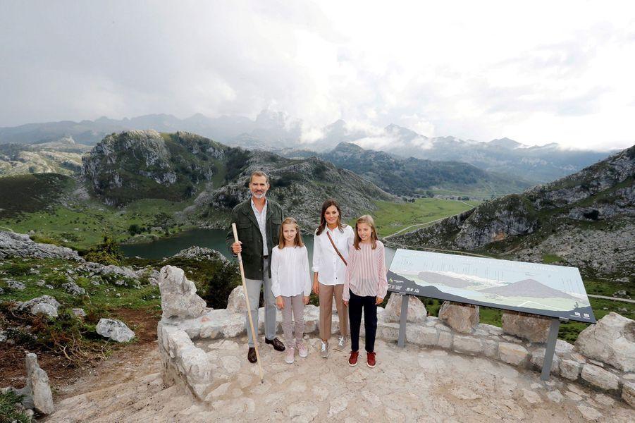 La reine Letizia, le roi Felipe VI et les princesses Leonor et Sofia d'Espagne dans les Asturies, le 8 septembre 2018