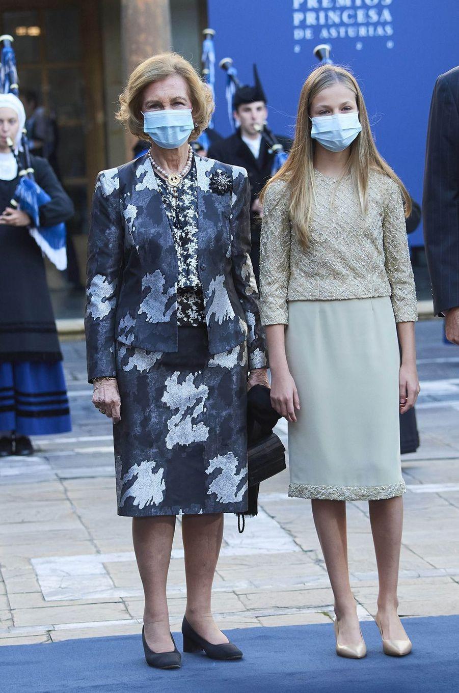 La princesse Leonor d'Espagne chaussée d'escarpins à talons, à Oviedo dans les Asturies le 16 octobre 2020