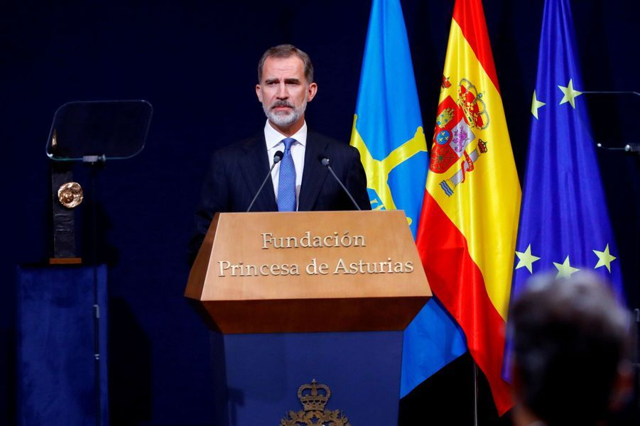 Le roi Felipe VI d'Espagne à Oviedo, le 16 octobre 2020