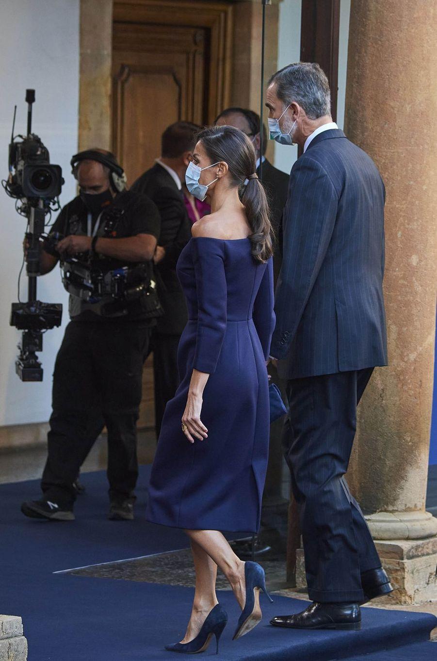 La reine Letizia et le roi Felipe VI d'Espagne, le 16 octobre 2020 à Oviedo