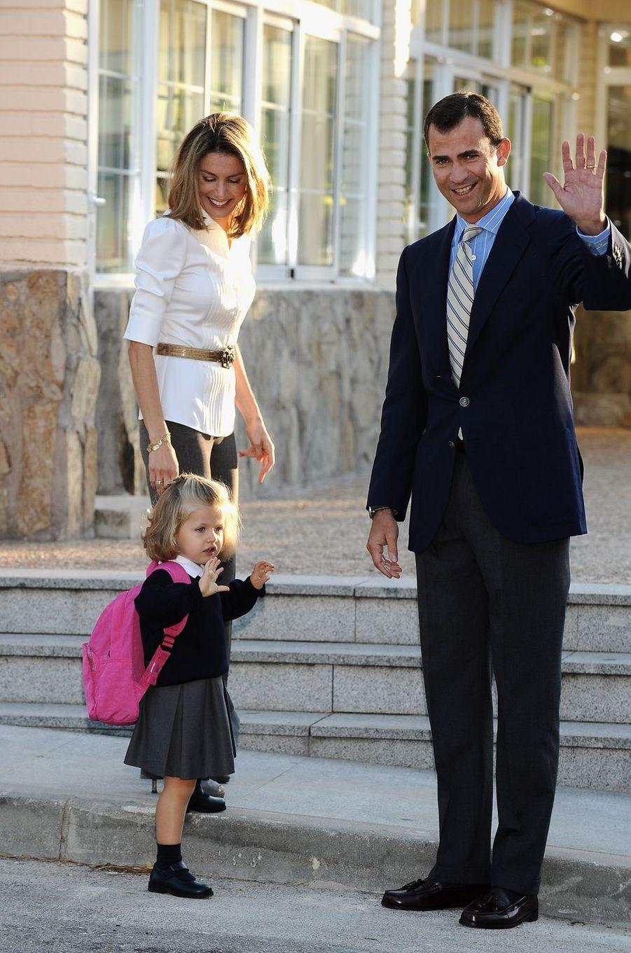 Première rentrée de la princesse Leonor d'Espagne à l'école, le 15 septembre 2008