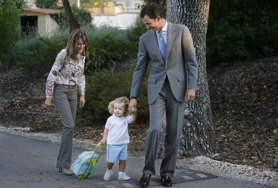Première rentrée de la princesse Leonor d'Espagne à la garderie, le 7 septembre 2007