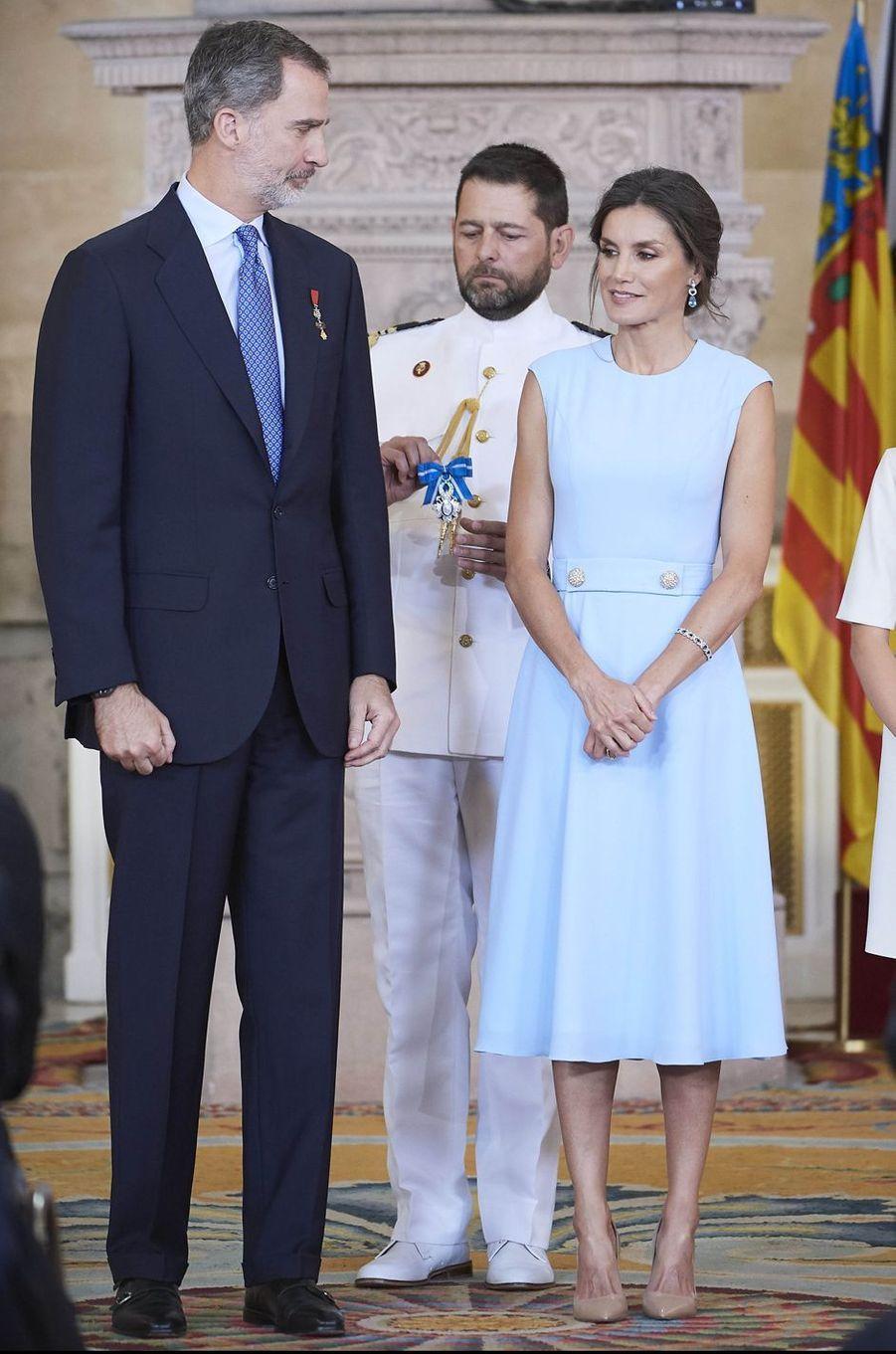 La reine Letizia et le roi Felipe VI d'Espagne à Madrid, le 19 juin 2019