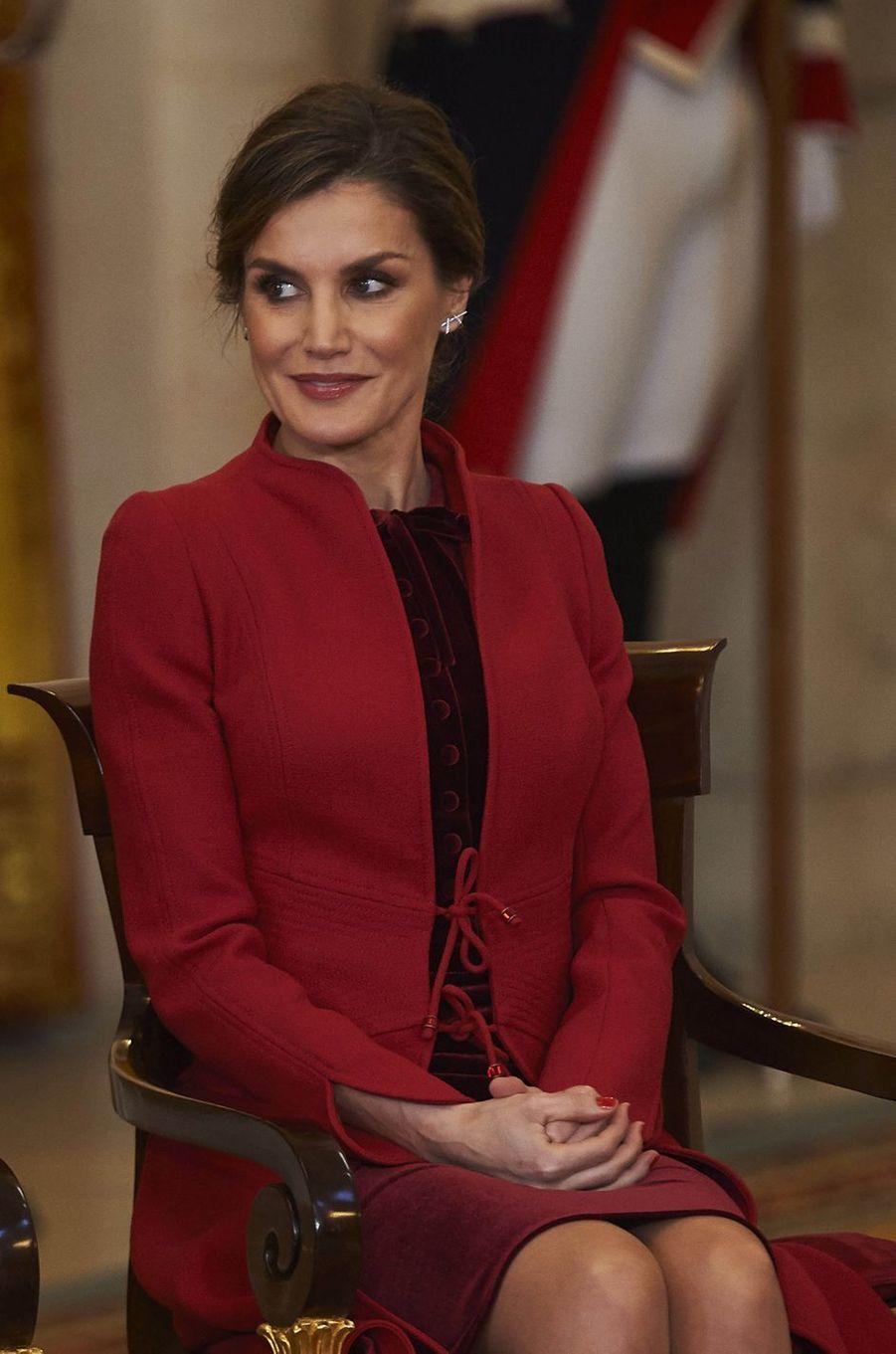 La reine Letizia d'Espagne à Madrid, le 30 janvier 2018